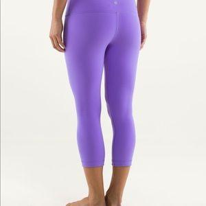 Lululemon Wunder Under Crops Power Purple Size 10